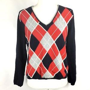 Tommy Hilfiger Argyle Sweater Petite XL Vneck